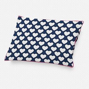 Almofada de cabeceira Corações Azul Marinho