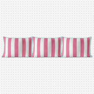 Kit almofadões para cama Listras Rosa Chiclete