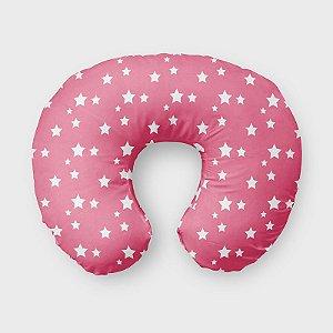 Almofada de amamentação Rosa Chiclete com Estrelas