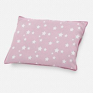 Almofada de cabeceira Rosa bebê com Estrelas