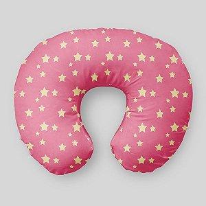 Almofada de amamentação Rosa Chiclete com Estrelas 2