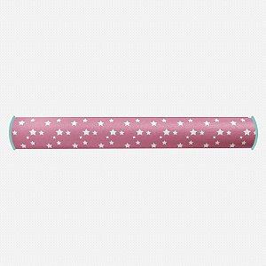 Rolo lateral para berço Rosa Chiclete com Estrelas