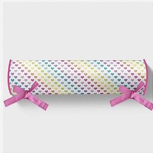 Rolo cabeceira e peseira para cama montessoriana Rainbow Hearts