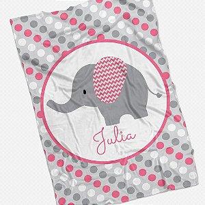 Manta solteiro Elefantinho personalizável (várias cores)