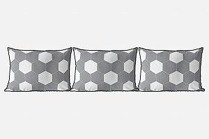 Kit almofadões para cama Bola de Futebol cinza