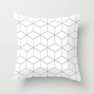 Capa de almofada Cubes Branco com cinza 40x40 ~ Bazar!