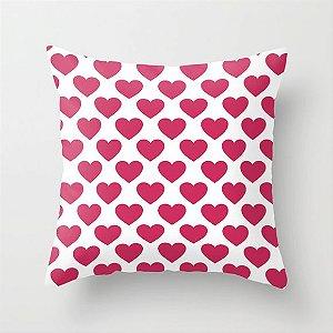 Capa de almofada Corações Rosa chiclete