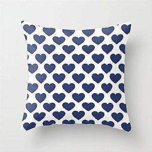 Capa de almofada Corações Azul marinho