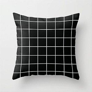 Capa de almofada Quadrados Preta