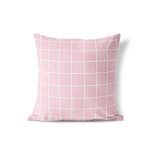 Capa de almofada Quadrados Rosa bebê
