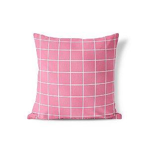 Capa de almofada Quadrados Rosa chiclete