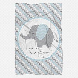 Manta solteiro Elefantinho Azul Bebê
