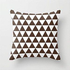 Capa de almofada Triângulos Marrom Café