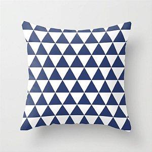 Capa de almofada Triângulos Azul marinho
