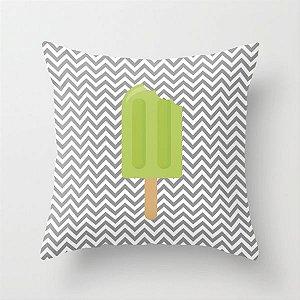 Capa de almofada Sorvete Cinza e Verde
