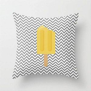 Capa de almofada Sorvete Cinza e Amarelo
