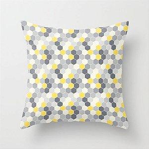 Capa de almofada Colméia Amarela e cinza