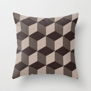 Capa de almofada Cubes Marrom Chocolate e Café