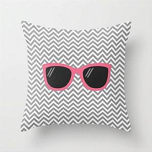 Capa de almofada Óculos Rosa e cinza