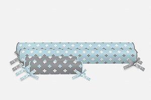Kit rolos para cama Montessoriana Super Cute Azul Bebê e Cinza (vários tamanhos)