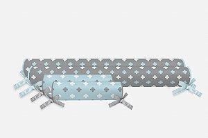 Kit rolos para cama Montessoriana Super Cute Cinza e Azul Bebê (vários tamanhos)