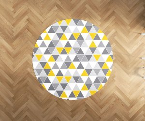 Playmat Tri Amarelo e Cinza redondo