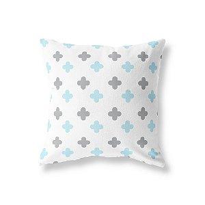 Capa de almofada Super Cute Branco e Azul bebê