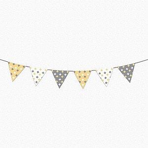 Bandeirola Super Cute amarelo bebê e cinza