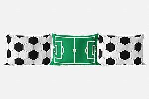Kit almofadões para cama Campo e Bola de Futebol branco