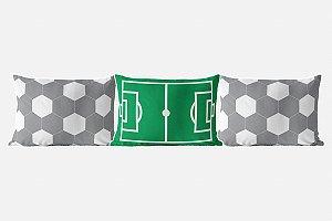 Kit almofadões para cama Campo e Bola de Futebol cinza