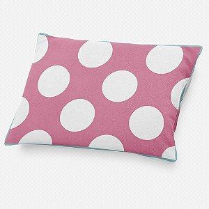 Almofada de cabeceira Rosa Chiclete com Bolas