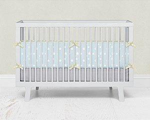 Par de laterais de berço em espuma Azul bebê com Estrelas