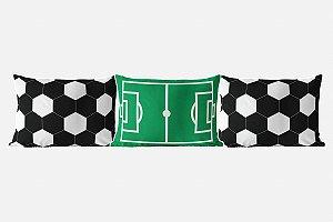 Kit almofadões para cama Campo e bola de Futebol Preta