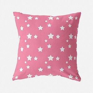Capa de almofada Rosa Chiclete com Estrelas