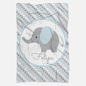 Manta carrinho Elefantinho Azul Bebê