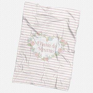 Manta solteiro Coração floral personalizável