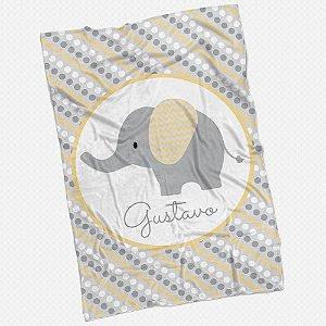 Manta solteiro Elefantinho Amarelo
