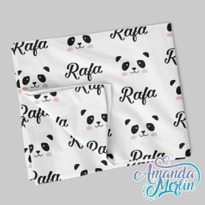 Manta solteiro Panda Personalizada