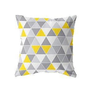 Capa de almofada Triângulos Cinza e Amarelo