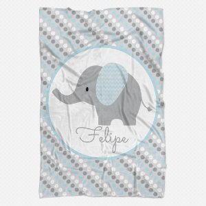Manta Elefante Personalizada azul bebê