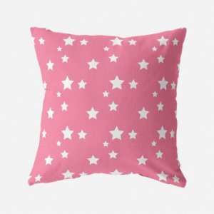 Capa de almofada Rosa chiclete com estrelas em sarja  50x50 ~ OUTLET