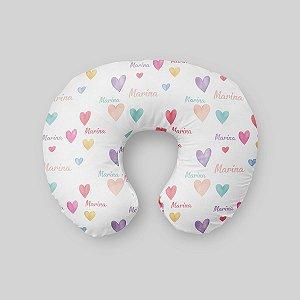 Almofada de amamentação Corações Aquarelados Personalizada