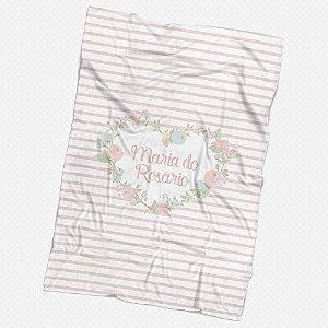 Manta Listras e flores Personalizada
