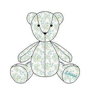 Urso Personalizável Flores azuis
