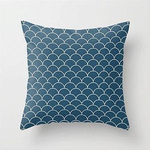 Capa de almofada Escamas Azul Petróleo