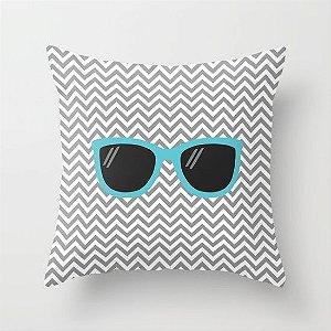 Capa de almofada Óculos Cinza e Azul
