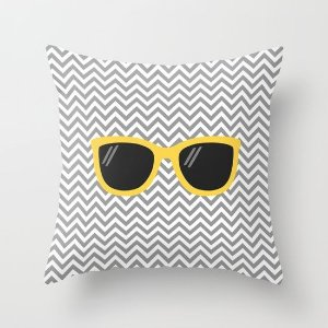 Capa de almofada Óculos Cinza e Amarelo