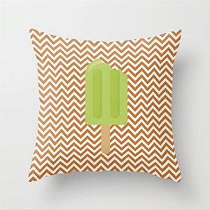 Capa de almofada Sorvete Laranja e Verde