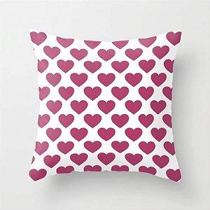 Capa de almofada Coração Rosa Escuro