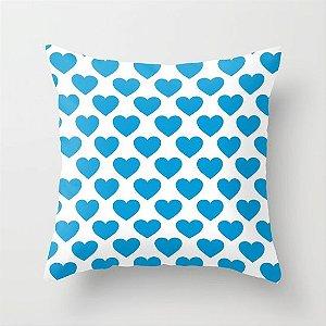 Capa de almofada Big Old Hearts Azul